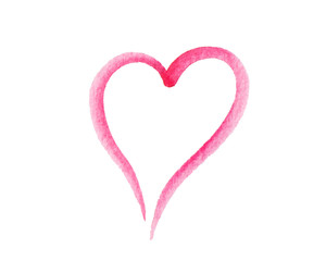 Heart shaped logo made of pink and magenta brush stroke. Watercolor hand drawn heart with rough edges. Faded  paint finish on paper.