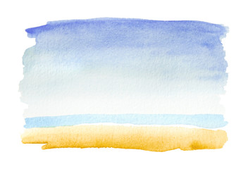 Horizontal beach view painted in watercolor on white isolated background with faded blue and yellow. Hand made watercolor shabby texture representing sea, beach, sand, summer artistic painting.