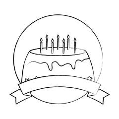 emblem with sweet cake icon over white background, vector illustration