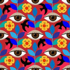 Mexican folk seamless pattern