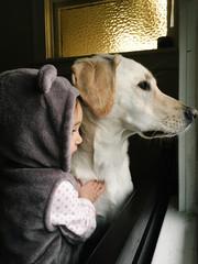 Toddler hugging dog