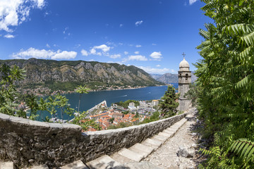 Stairs and the Church of Our Lady of Remedy above Kotor, Montenegro.
