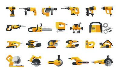 Big flat icon collection of power electric hand tools. Set of master tools for wood, metal, plastic, stone, etc.