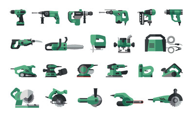 Big flat icon collection of power electric hand tools. Set of master tools for wood, metal, plastic, stone.