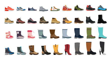 Big flat icon collection of men's, women's and children's footwear. Stylish and fashionable shoes, sneakers and boots.