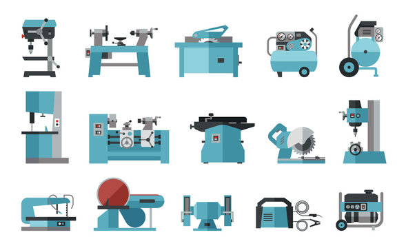 Flat icon collection of electric machine tools  for wood, metal, plastic, stone. Machines used in production in various types of industry.