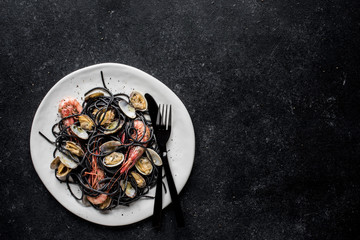 Black pasta with shrimp and clams