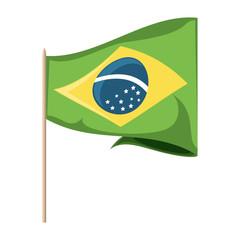 Brazil flag icon over white background, vector illustration
