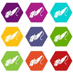 Protect angle grinder icons 9 set coloful isolated on white for web