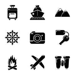 Tourist way icons set. Simple set of 9 tourist way vector icons for web isolated on white background