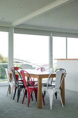 Casual dining room with metal chairs