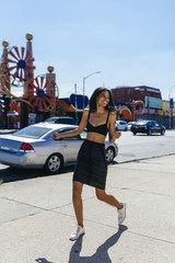 Female Fashionable Afro Girl Out in Coney Island . Us New york C