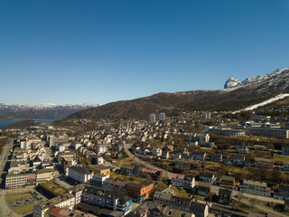 The city of Narvik in Norway from above