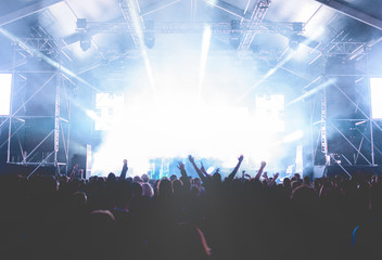 Crowd of people dancing and having fun at music festival
