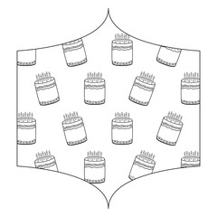 decorative frame with sweet cakes pattern over white background, vector illustration