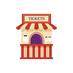 Information ticket office isolated on white background. Cinema, theater, amusement park element, ticket booth kiosk vector illustration