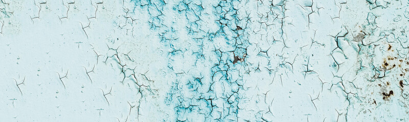 panorama. paint with cracks. texture and paint background. blue hue
