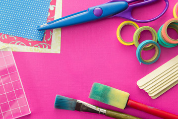 Background of Scrapbook and Craft Supplies