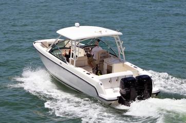 Fishing Boat cruising on the florida intra-coastal waterway off Miami Beach.