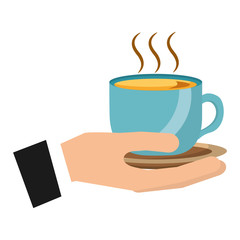 hand holding hot coffee cup on dish vector illustration