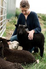 teen stroking lamb in field