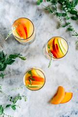 Homemade summer peach sangria