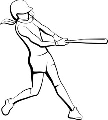 Girl Softball Batter