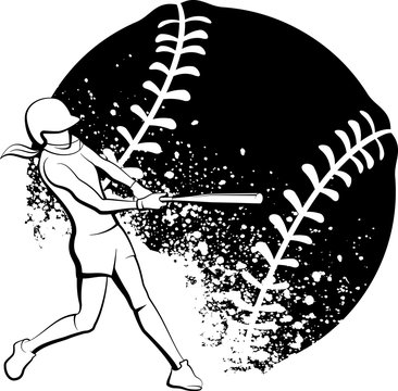 Girl Softball Batter with Stylized Splatter Ball Behind