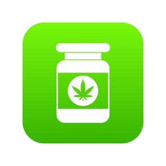 Jar of powder marijuana icon digital green for any design isolated on white vector illustration