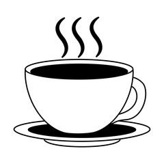 coffee cup hot fresh aroma on saucer vector illustration black and white black and white