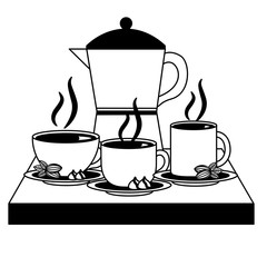 coffee maker and cups on dish beans and chips vector illustration black and white black and white