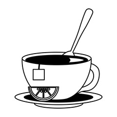 tea cup hot with spoon leaves bag on dish vector illustration black and white black and white