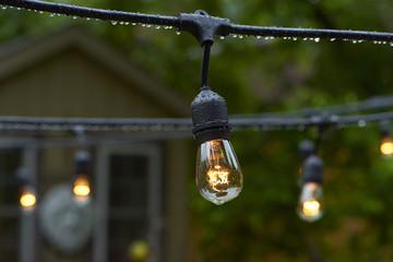 Vintage Patio Lights in the Rain