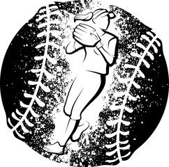 Softball Player Throwing With a Grunge Style Ball