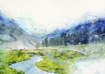 Watercolor mountain landscape. Background