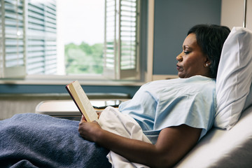 Hospital: Female Patient Reads Book In Bed