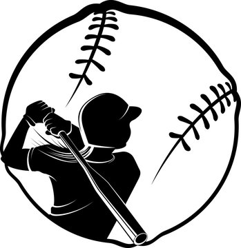Softball Batter in Stylized Ball