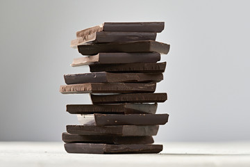 Organic Dark Chocolate Squares Stacked so tall you know you're going to have a great evening at the bonfire