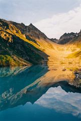 Swiss Alps - Morning Sun Hitting Nidersee and Wichelhorn Shot on Film