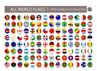 All World Flags speech bubble flat collection. Part 1. All World Flags Vector Collection