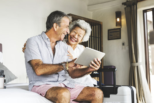 Mature couple using a tablet