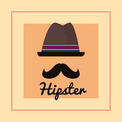 Hipster style design with hat and mustache over orange background, colorful design. vector illustration