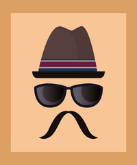 Hipster style design with hat and sunglasses over orange background, colorful design. vector illustration