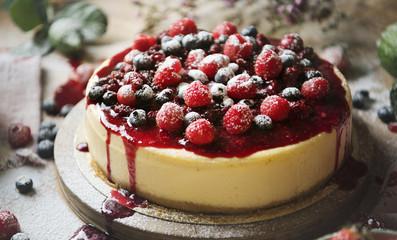 Fresh berry cheescake food photography recipe idea