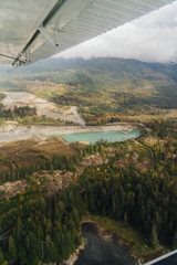 Aerial View of Private Blue Lake From Seaplane in British Columbia