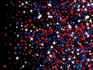 Patriotic 4th of July, Independence Day of America Stars Confetti. Flying Stars Texture, US Blue, Red, White Confetti Banner. USA Independence Day, 4th of July, National Symbols Banner Background.