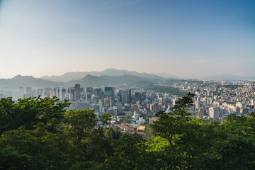 aerial view of downtown seoul skyline