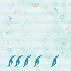 夏 ペンギン デザイン 背景 イラスト