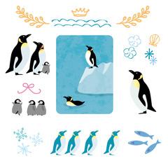 夏 ペンギン イラスト アイコン セット