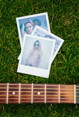 Polaroids of a blonde woman and romantic couple with a guitar on grass